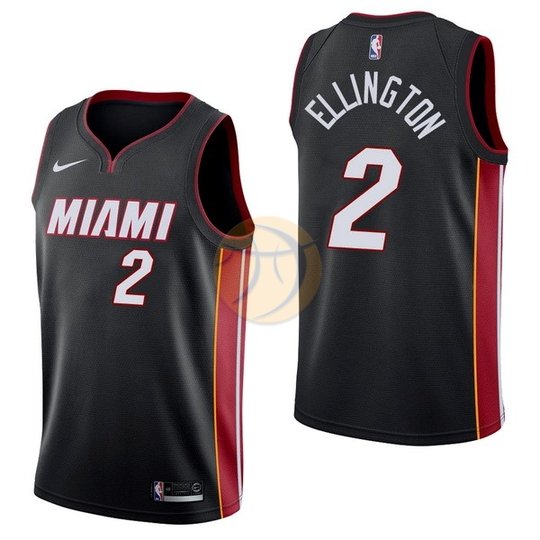 Maglia NBA Nike Miami Heat NO.2 Wayne Ellington Nero Icon 2017-18
