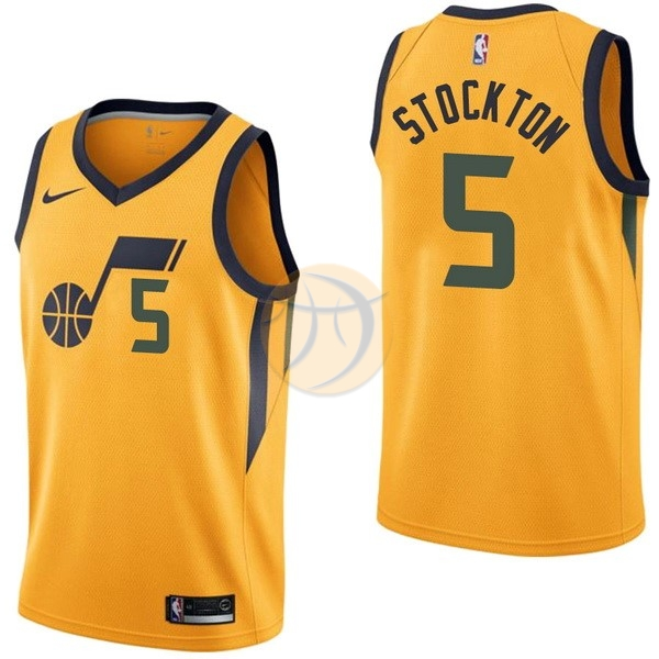 Maglia NBA Nike Utah Jazz NO.5 David Stockton Giallo Statement 2017-18
