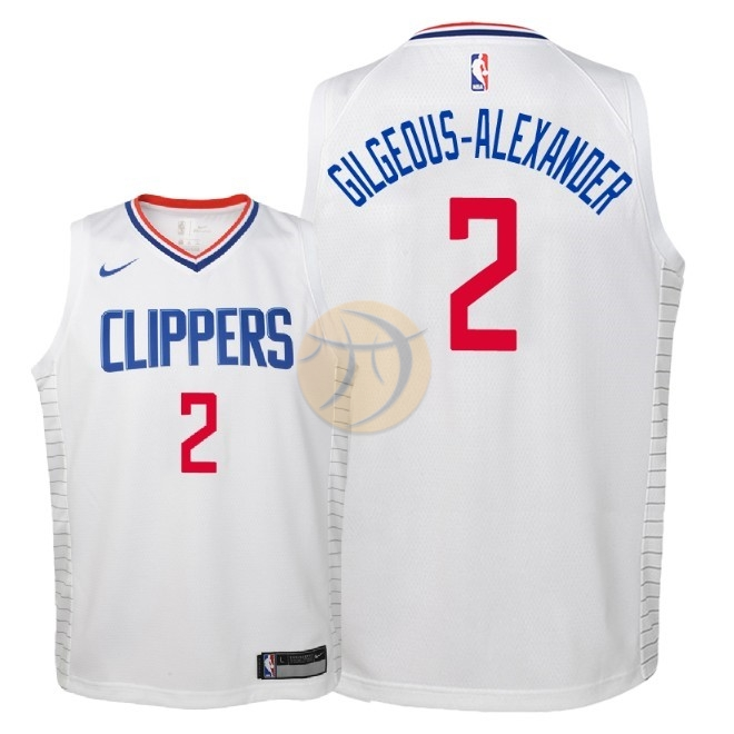 Maglia NBA Bambino Los Angeles Clippers NO.2 Shai Gilgeous Alexander Bianco Association 2018