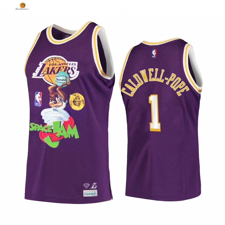 Maglia NBA Los Angeles Lakers NO.1 Kentavious Caldwell Porpora Hardwood Classics