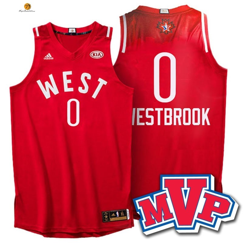 Maglia NBA 2016 All Star NO.0 Russell Westbrook Rosso