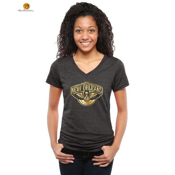 T-Shirt Donna NBA New Orleans Pelicans Nero Oro